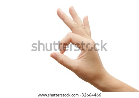 Thumbs Up Success Hand Sign over white - stock photo