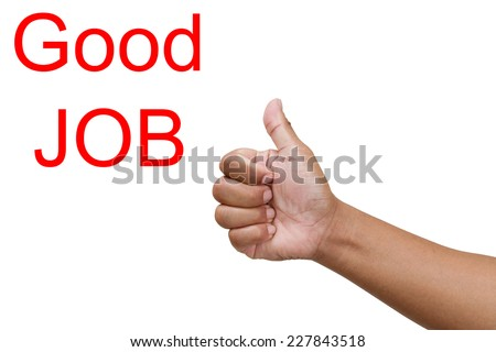 thumbs up to show their success and motivation, close up view of their raised hands - stock photo