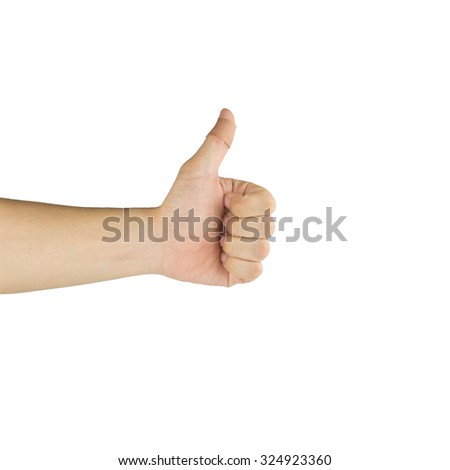 thumbs up with bandage on white background