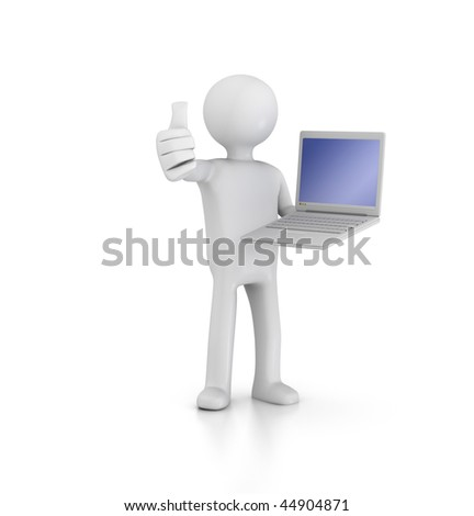 Thumbs up with Laptop - stock photo