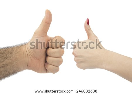 thumbs up woman and man