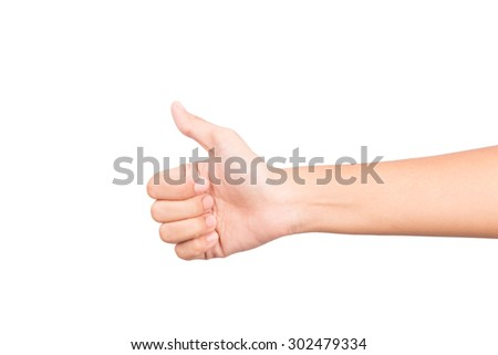 thumbs up woman hand on white background