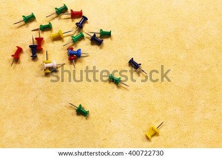 thumbtacks,  tacks, pin, pins, stick pin, stick pins, colorful pins - stock photo