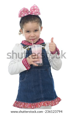 Thump Up Young Girl with Strawberry Milk Shake Isolated on White - stock photo