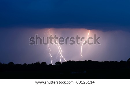 Thunder and lightning at the end of a warm day in the Netherlands