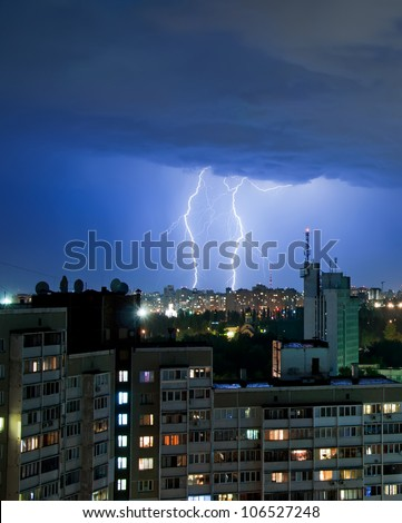 thunder and Lightning over the city - stock photo