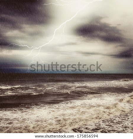 Thunder and rain in ocean