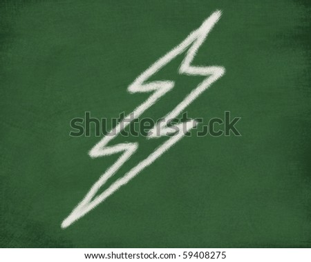 Thunder bolt sketch on green board - stock photo