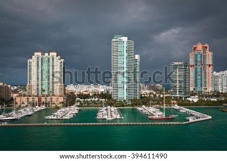 Thunder clouds over marina at South Point in Miami Beach