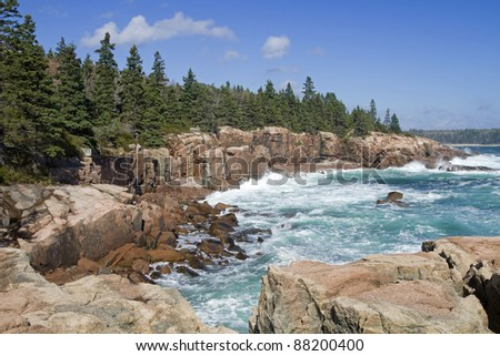 Thunder Hole - Acadia National Park, Maine, USA - stock photo