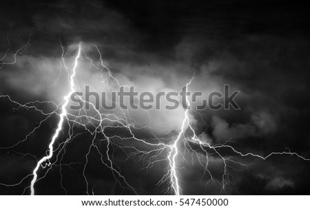Thunder, lightnings and rain on stormy summer night.