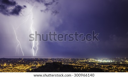 Thunder on the city - stock photo