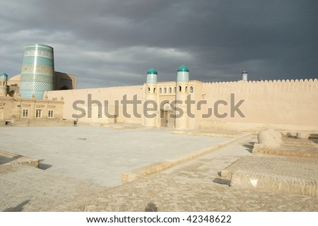 Thunder-storm above an ancient fortress in Khiva