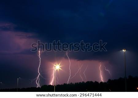 thunder-storm in the sky - stock photo