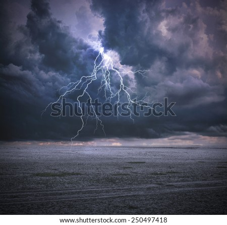 Thunderbolt and Clouds - stock photo