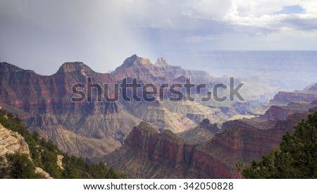 Thunderstorm at Grand Canyon North Rim. - stock photo