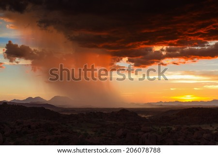 Thunderstorm at sunset over Damaraland, Namibia, Africa - stock photo