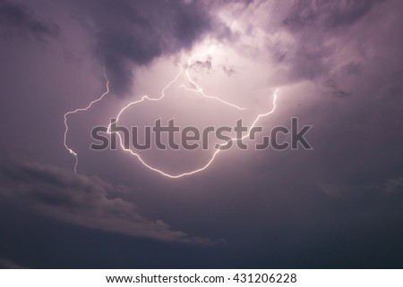 Thunderstorm Clouds with Lightning - stock photo