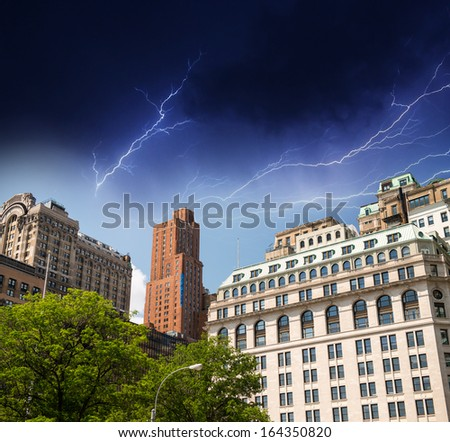 Thunderstorm colors over New York Skyscrapers. - stock photo