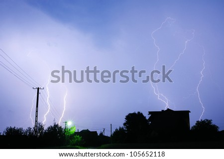 Thunderstorm in Poland - stock photo