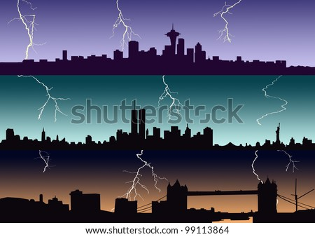 Thunderstorm in the city - stock photo