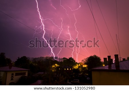 thunderstorm in the town - stock photo