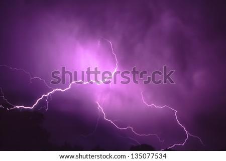 Thunderstorm Lightning in Illinois - stock photo