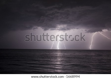 Thunderstorm lightning in Montego bay, resort, jamaica, ocean