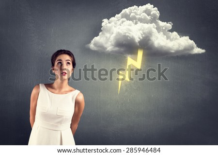 Thunderstorm near Woman - stock photo