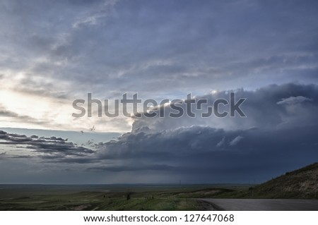 Thunderstorm Over the Plains - stock photo