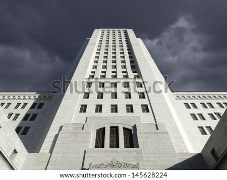 Thunderstorm sky over the Los Angeles city hall in Southern California. - stock photo