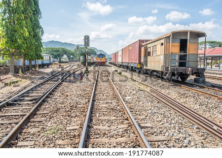 THUNGSONG,THAILAND-MARCH 31, 2014 : The vintage train on railway at Thungsong station in Thungsong of Thailand.