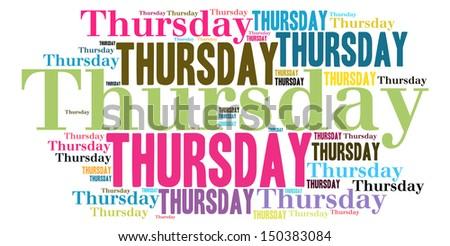 Thursday colour text cloud style - stock photo