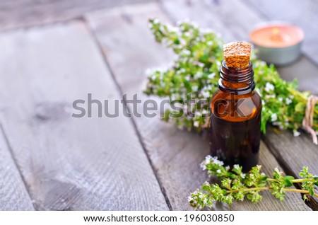 thyme oil - stock photo