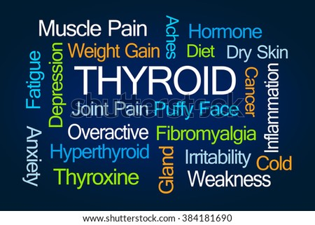 Thyroid Word Cloud on Blue Background - stock photo