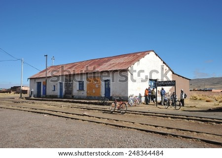 TIAHUANACO, BOLIVIA - SEPTEMBER 3, 2010: Railway station Tiahuanaco is located near the archeological complex.Tiahuanaco, an important object of pre-Columbian archaeological site in Western Bolivia.