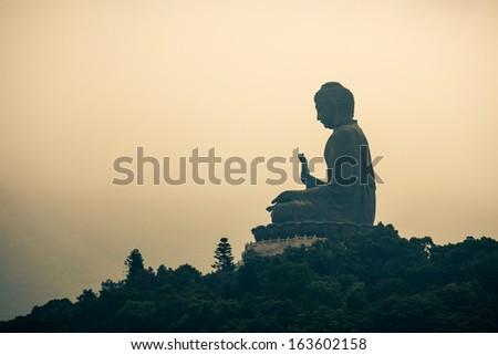 Tian Tan Buddha on Lantau Island, Hong Kong - stock photo