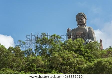 Tian Tan Buddha Statue in Hong Kong. - stock photo