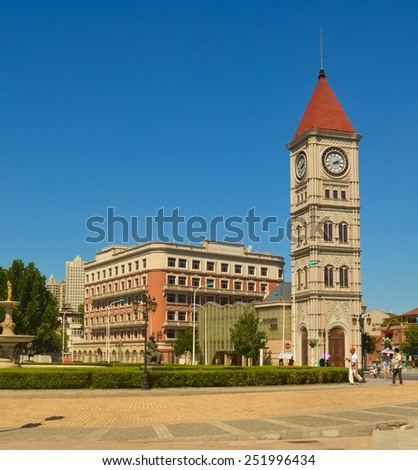 TIANJIN, CHINA, AUGUST 18, 2013: view of historical building in chinese city tianjin which is famous for european style architecture - stock photo