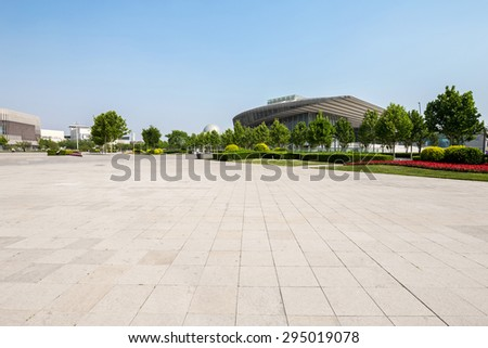 Tianjin,China-May 24,2015:public square with empty road floor in downtown of tianjin. - stock photo