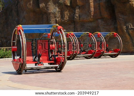 TIANJIN - MAY 17: strange Electric cars, Happy Valley, on May 17, 2014, Tianjin, China.