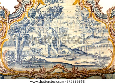 TIBAES, PORTUGAL - SEPTEMBER 22, 2015: Detail of the rococo style panels of tiles in the Chapter Room, Monastery of Sao Martinho on September 22, 2015, in Tibaes, Portugal. - stock photo