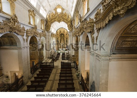 TIBAES, PORTUGAL - SEPTEMBER 22, 2015: View of the magnificent 17th century Benedictine church of the Monastery of Sao Martinho on September 22, 2015, in Tibaes, Portugal
