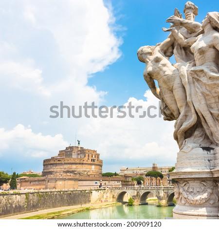 Tiber river and Sant Angelo Castle and Bridge in Rome, Italia. - stock photo