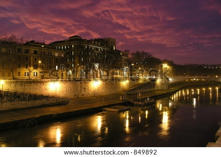 Tiber River in Rome, Italy - stock photo