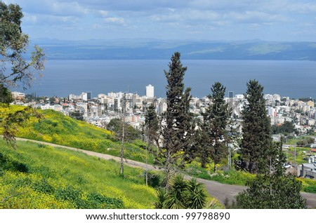 Tiberias is a city on the western shore of the Sea of Galilee - stock photo