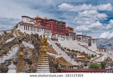 Tibet Potala palace with stupa spires in foreground (hdr image) - stock photo