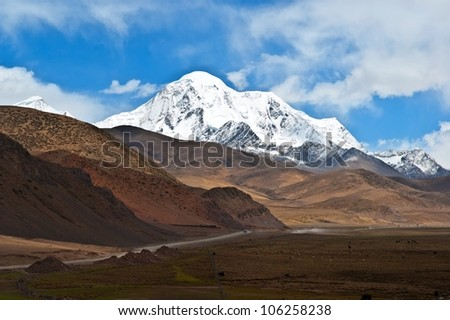 Tibet scene. Mt.Qungmogangze. Taken in the way from Shigatse to lhasa of tibet. Mt.Qungmogangze is elevation 7048m.