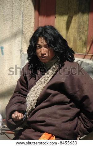 Tibetan boy - stock photo