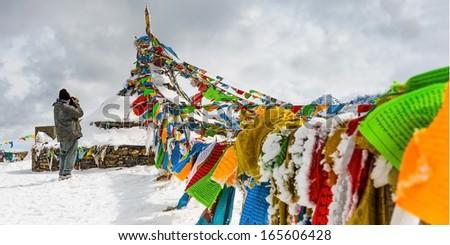 Tibetan flag - stock photo